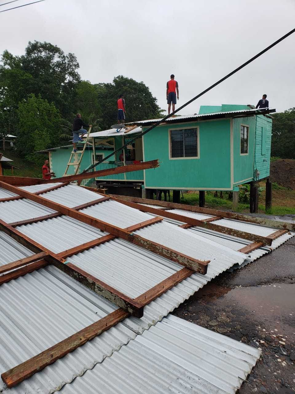 Gusty winds accompanying rain due to the passage of a tropical wave, resulted in roofs being blown off some homes in Chatham on Monday. Credit: Trinidad Guardian