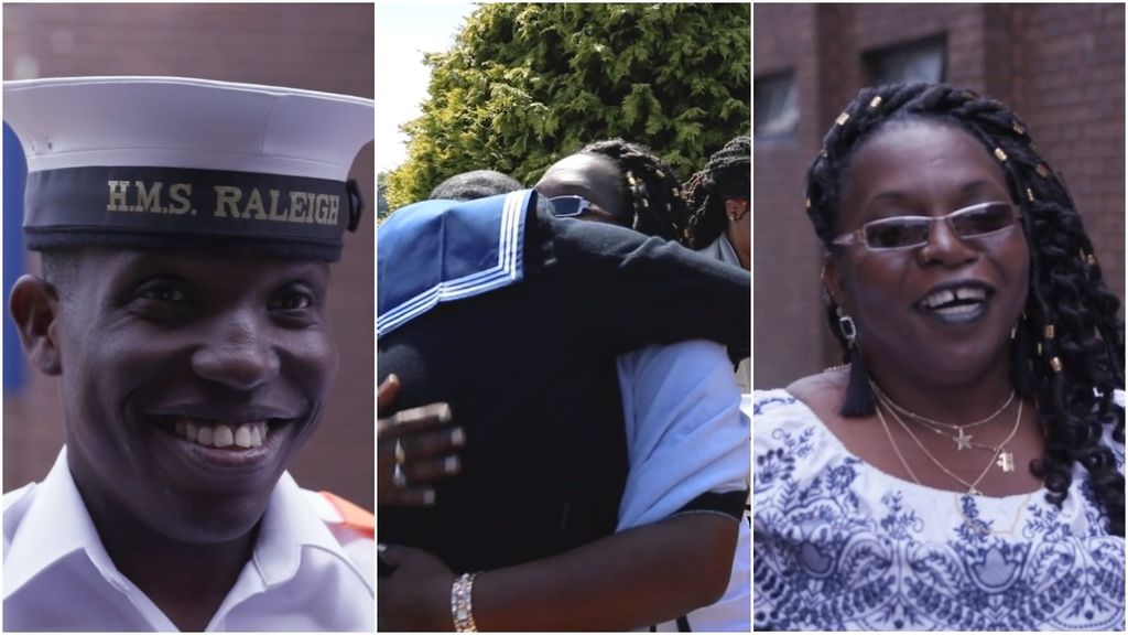 T&T Royal Navy recruit Quaci Crosby (l) hugs his mother, Althea Crosby at the passing-out parade in Plymouth, England.